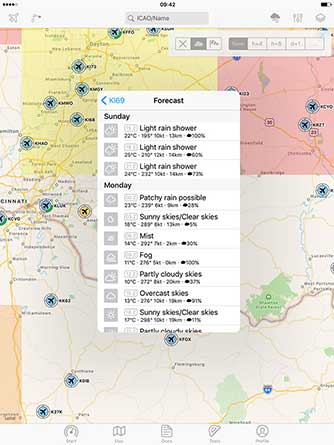 Aviation weather: current weather reports, visual flight conditions und wind forecasts are shown on our map.